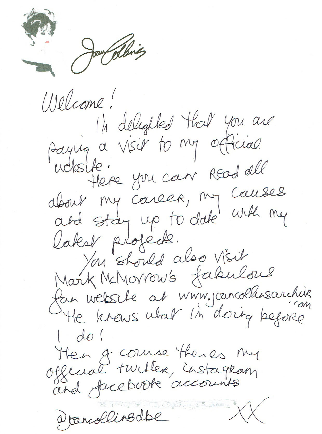 Joan website welcome letter